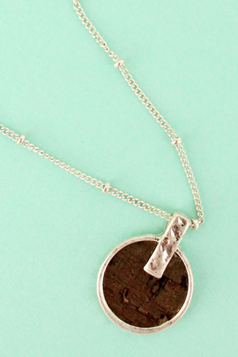SALE! Dark Cork and Silvertone Disk Necklace