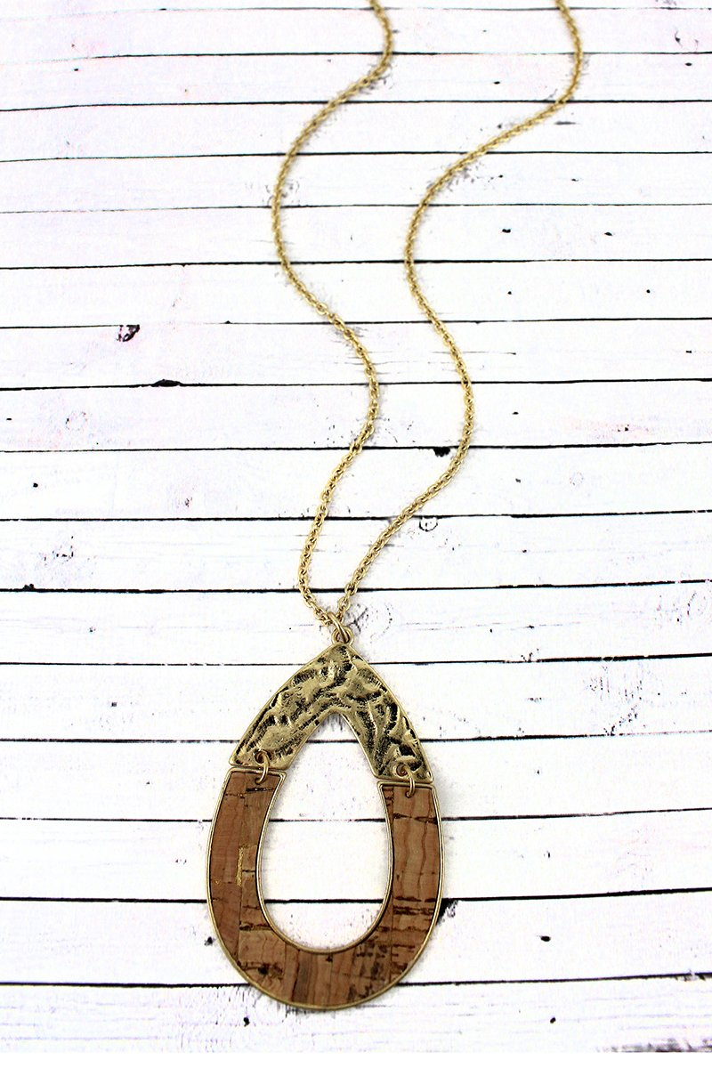 Crave Goldtone and Cork Hinged Open Teardrop Necklace