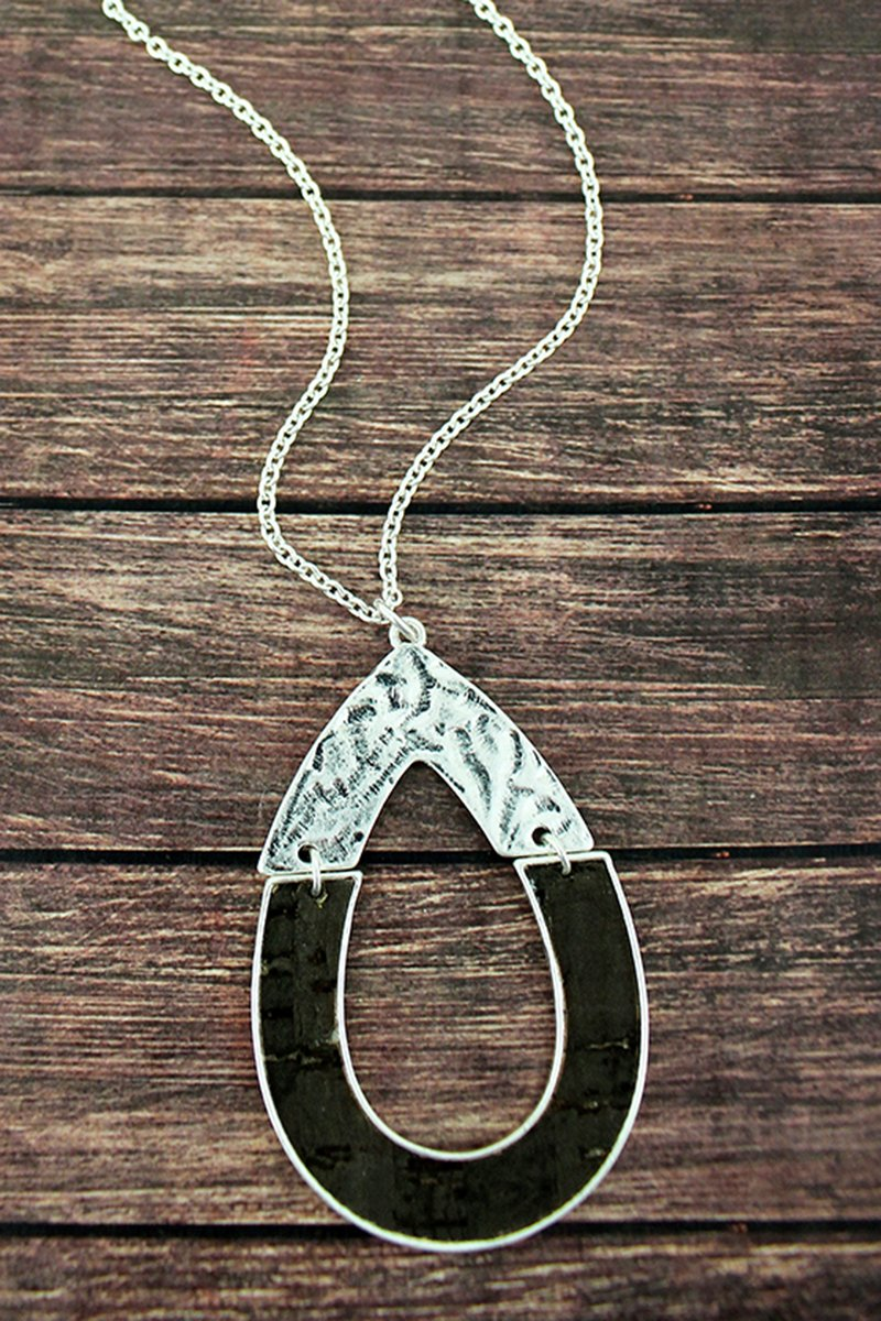 Crave Silvertone and Cork Hinged Open Teardrop Necklace