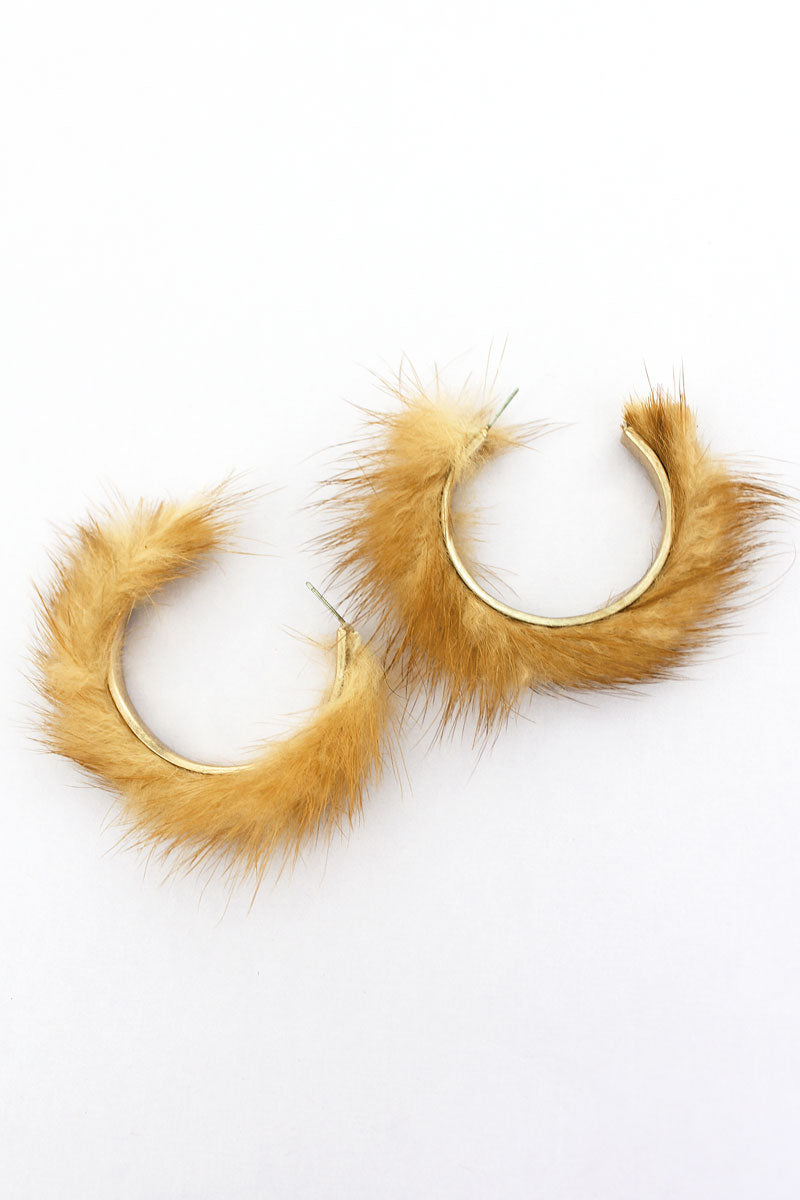 SALE! Crave Brown Faux Fur Fringed Goldtone Hoop Earrings