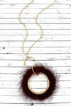 Crave Burgundy Faux Fur Fringed Goldtone Hoop Necklace