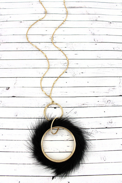 Crave Black Faux Fur Fringed Goldtone Hoop Necklace