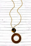 Crave Brown Tortoiseshell Disk and Wood Circle Pendant Necklace