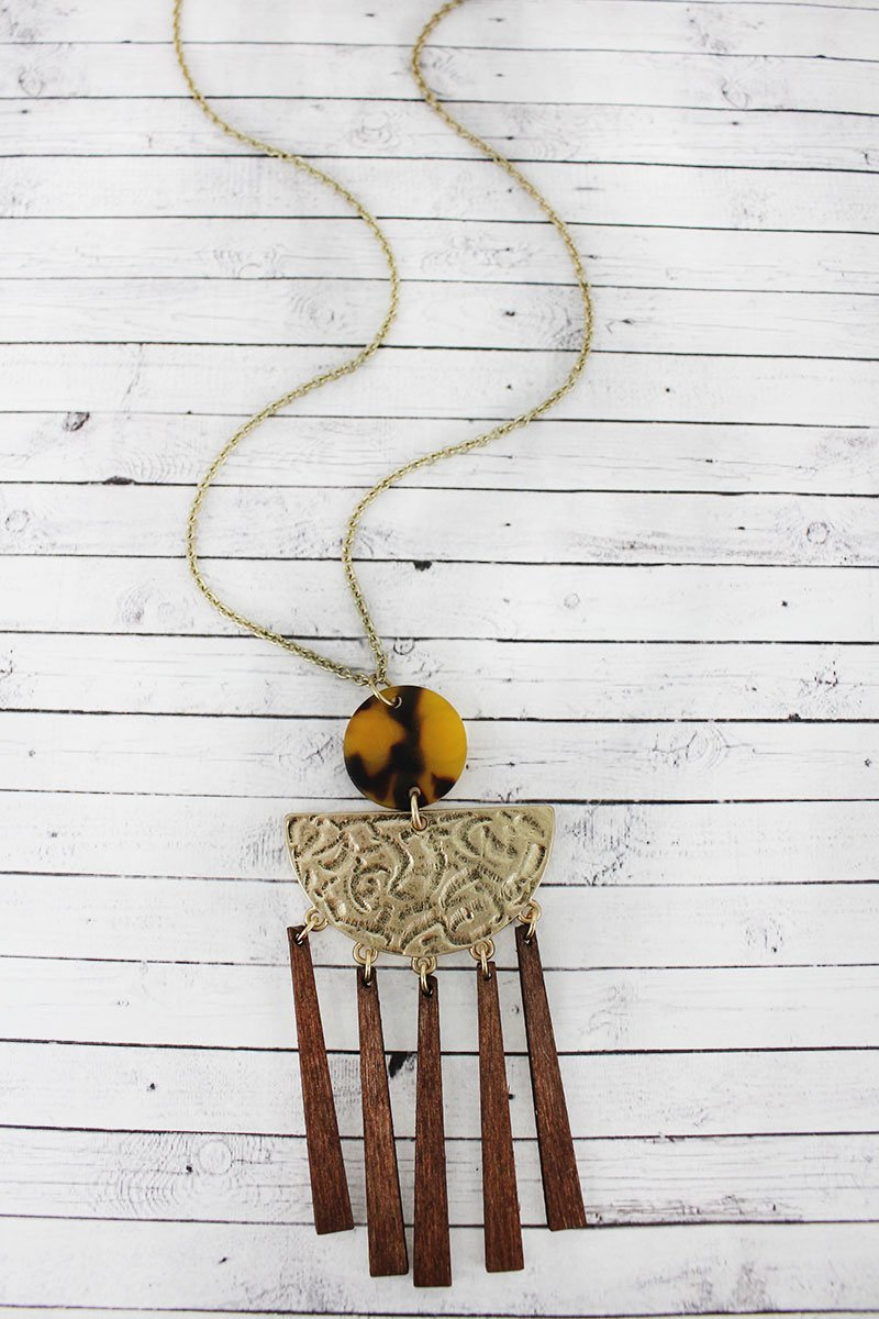 Crave Brown Tortoiseshell, Goldtone, and Wood Geo Fringe Pendant Necklace