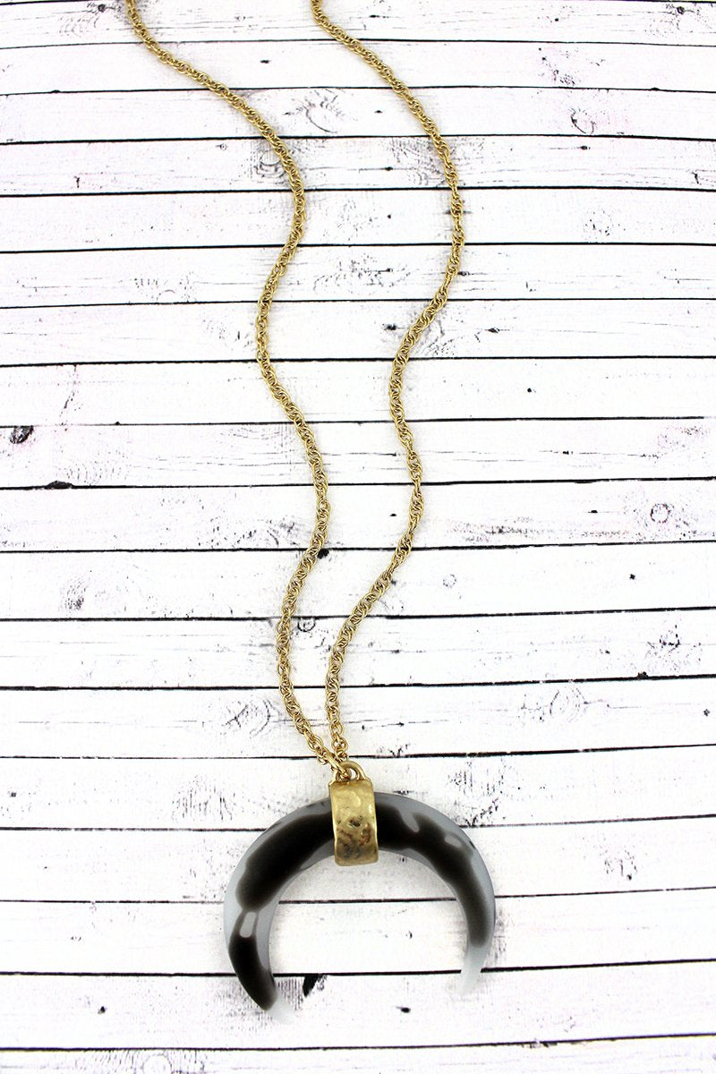 SALE! Crave Gray Tortoiseshell Double Horn Pendant Necklace
