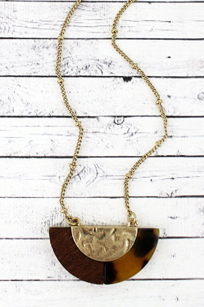 SALE! Crave Brown Tortoiseshell, Wood, and Goldtone Half Moon Necklace