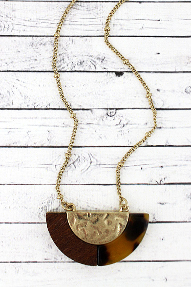 Crave Brown Tortoiseshell, Wood, and Goldtone Half Moon Necklace