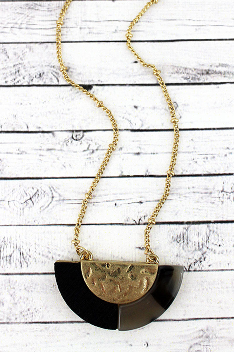 Crave Gray Tortoiseshell, Wood, and Goldtone Half Moon Necklace