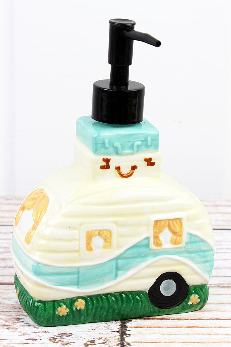 Ceramic Camper Soap/Lotion Dispenser, 7.5""
