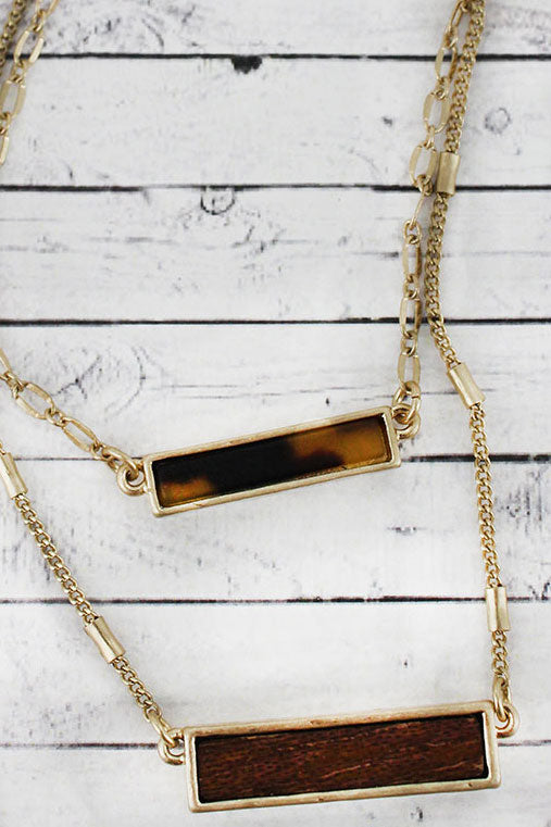 Crave Brown Tortoiseshell and Wood Bar Layered Goldtone Necklace