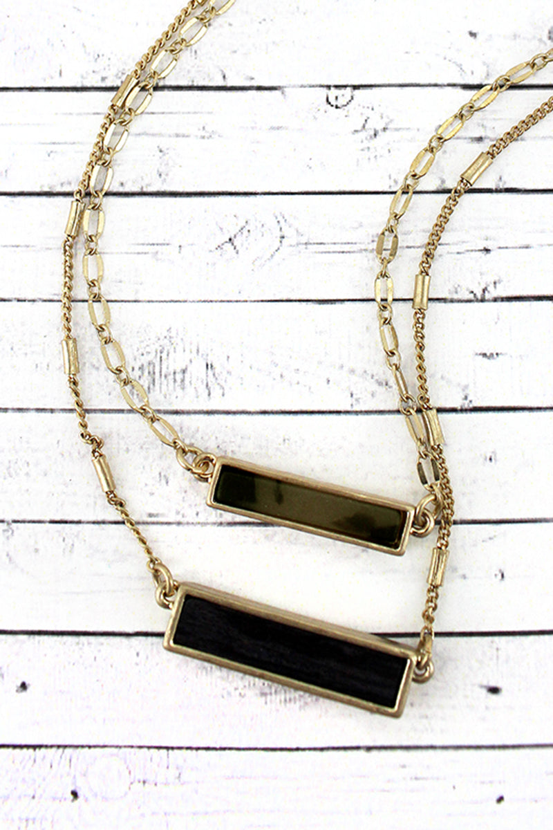 Crave Gray Tortoiseshell and Wood Bar Layered Goldtone Necklace