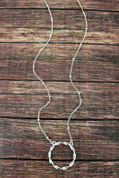 Crave Twisted Silvertone Circle Necklace