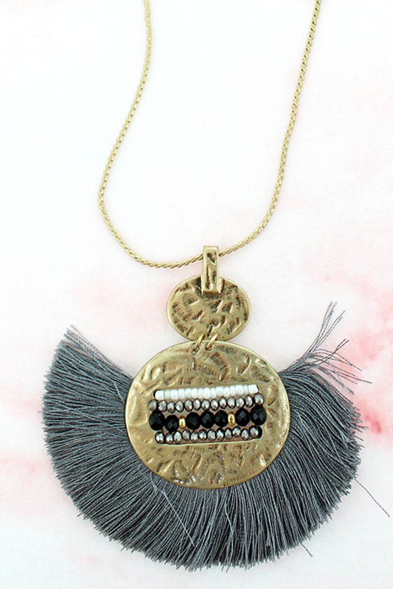 SALE! Gray Fringed Goldtone Beaded Double Disk Necklace