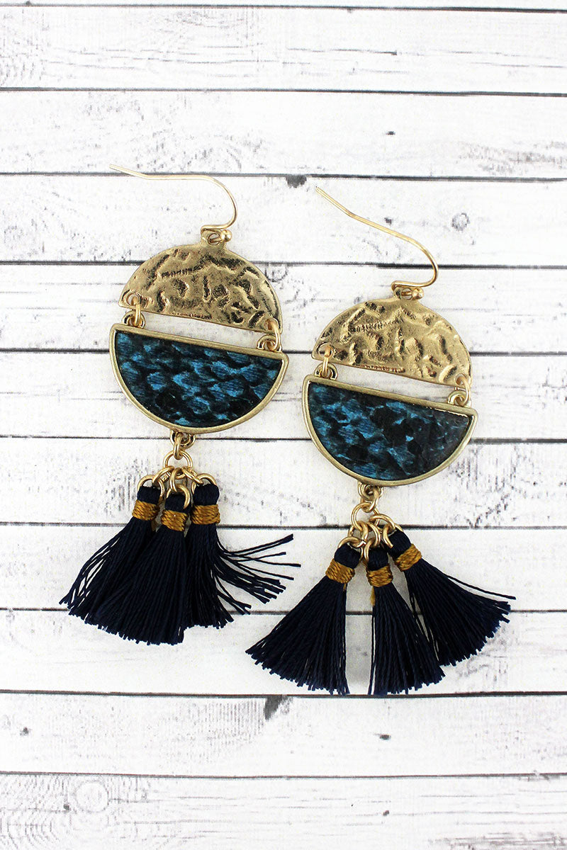 Crave Blue Snakeskin Split Disk Tassel Earrings