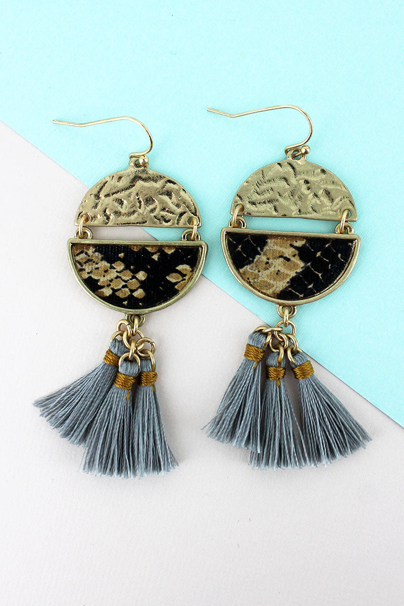Crave Brown Snakeskin Split Disk Gray Tassel Earrings