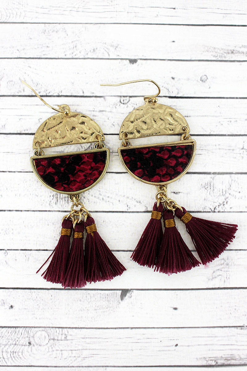 Crave Burgundy Snakeskin Split Disk Tassel Earrings