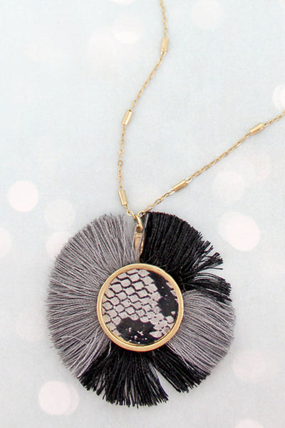 SALE! Black and Gray Fringed Snakeskin Disk Necklace