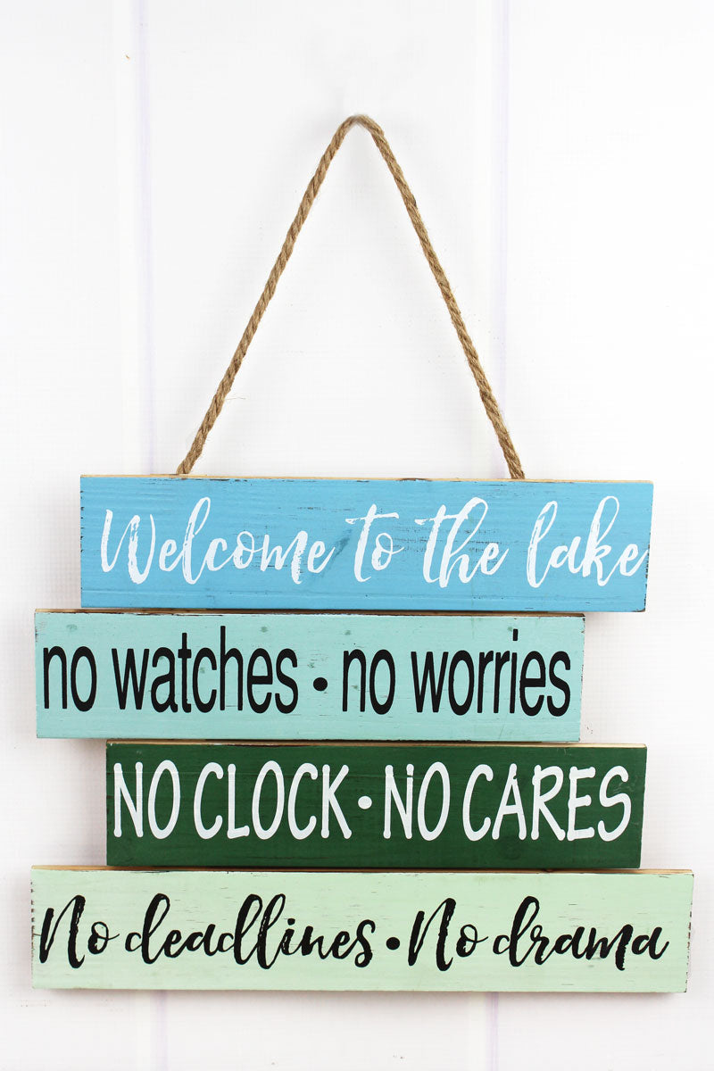12 x 15 'Welcome To The Lake' Wood Slat Wall Sign