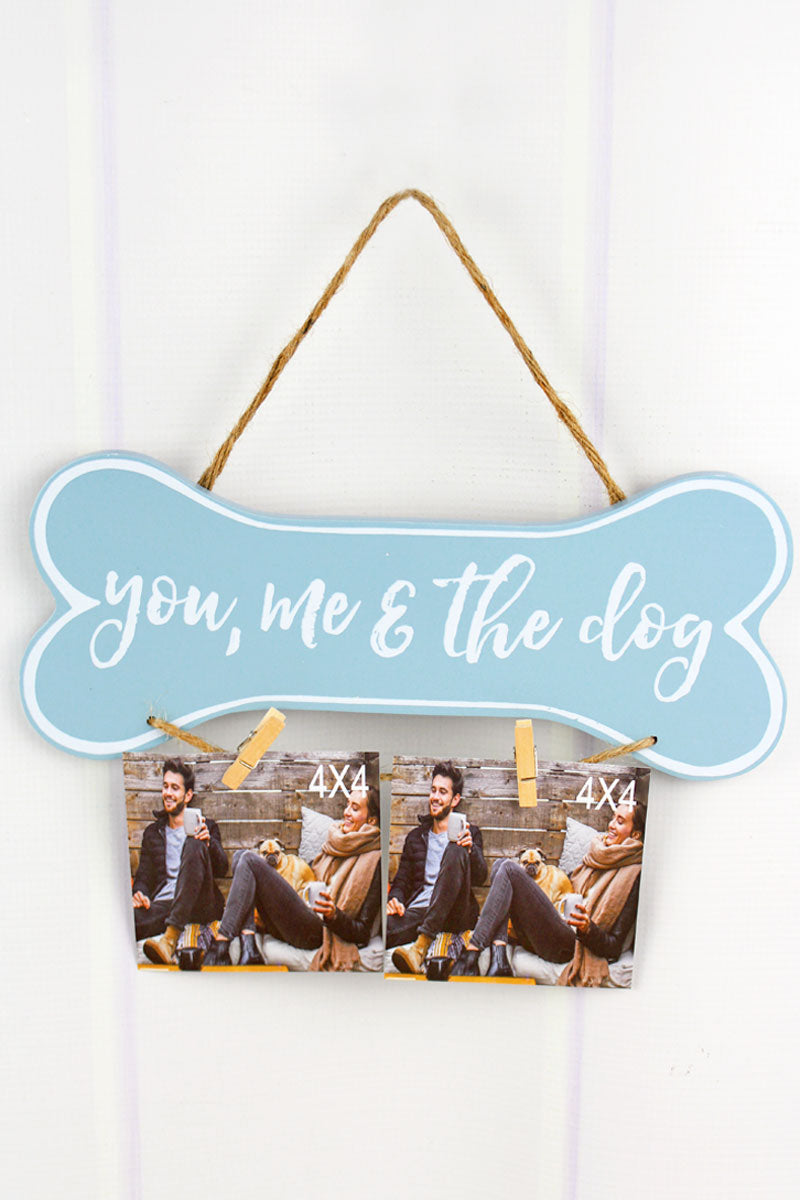 6 x 12 'You, Me & The Dog' Bone Shaped Double 4x4 Photo Display