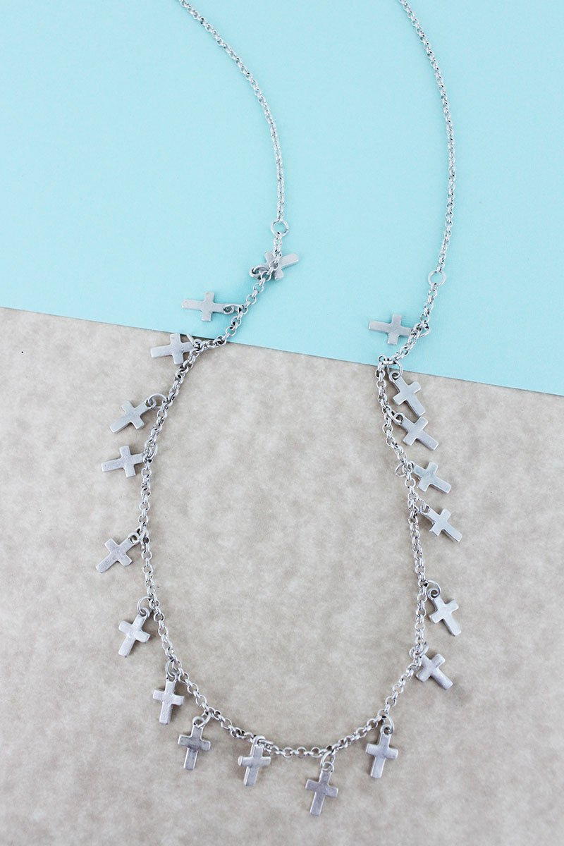 Crave Worn Silvertone Cross Charm Necklace