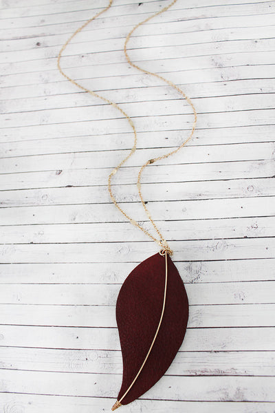 Crave Goldtone and Brown Faux Leather Leaf Pendant Necklace