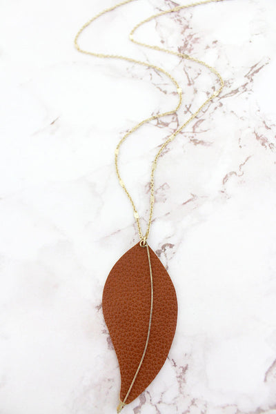 SALE! Crave Goldtone and Caramel Faux Leather Leaf Pendant Necklace