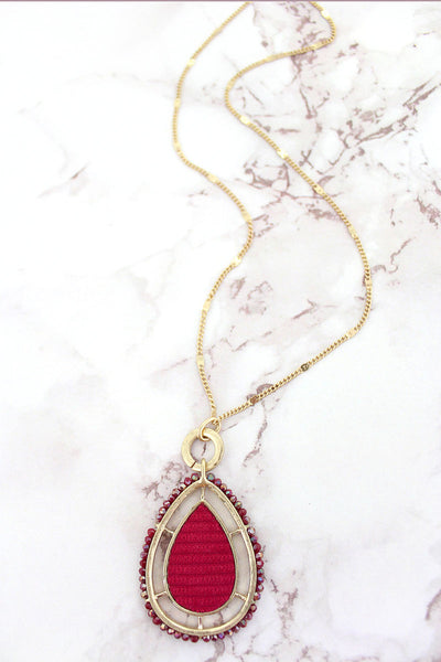 SALE! Burgundy Bead Trimmed Goldtone and Velvet Teardrop Necklace