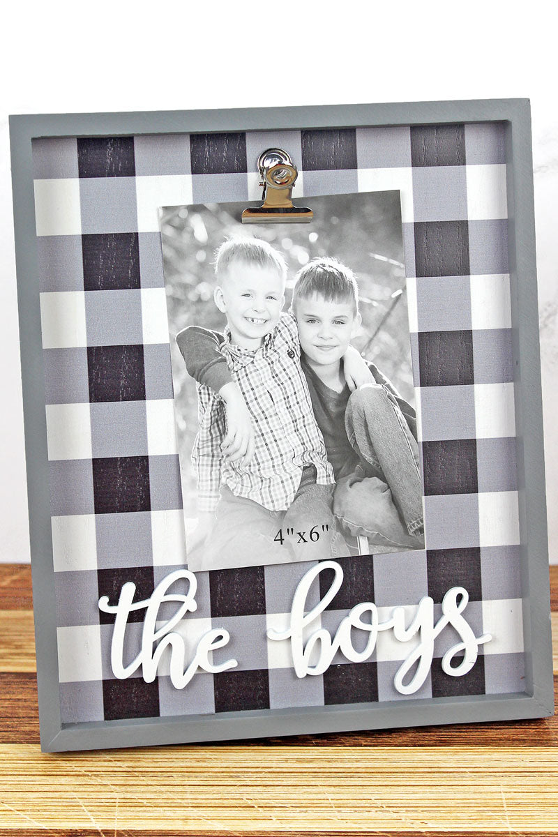 10 x 8.25 'The Boys' Black Plaid 4x6 Photo Display