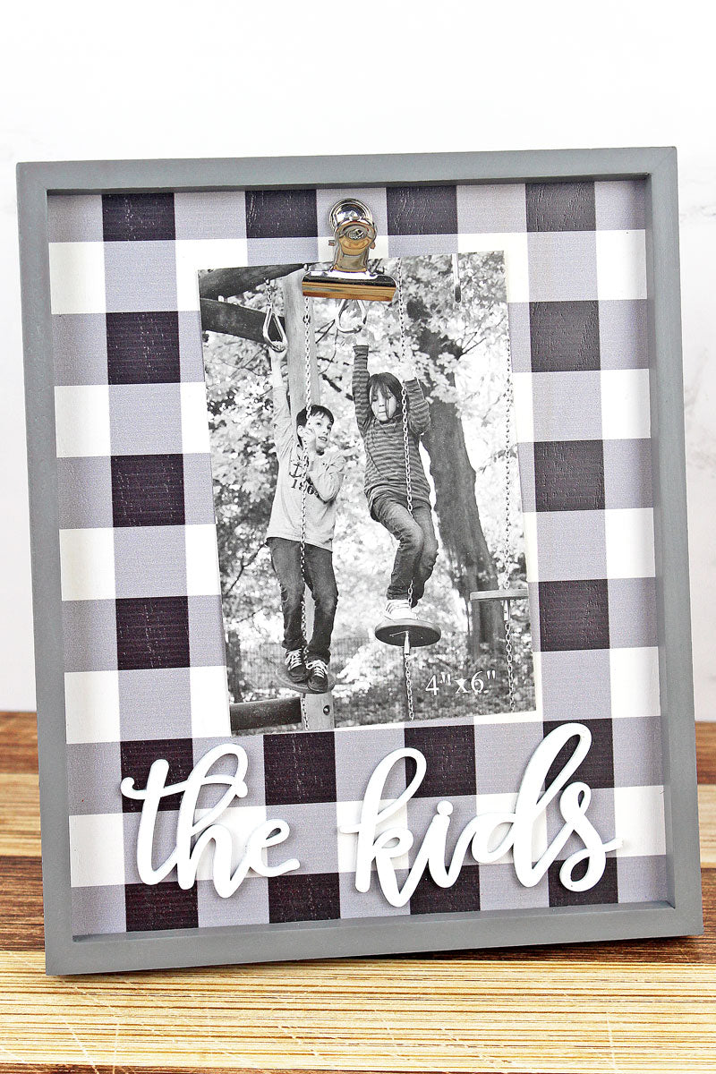 10 x 8.25 'The Kids' Black Plaid 4x6 Photo Display