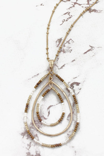 SALE! Goldtone and Brown Seed Bead Orbital Teardrop Necklace