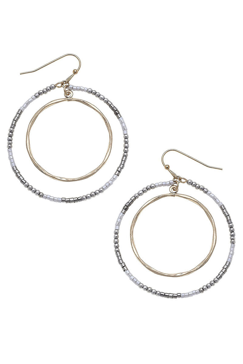 Crave Goldtone and Gray Seed Bead Orbital Circle Earrings