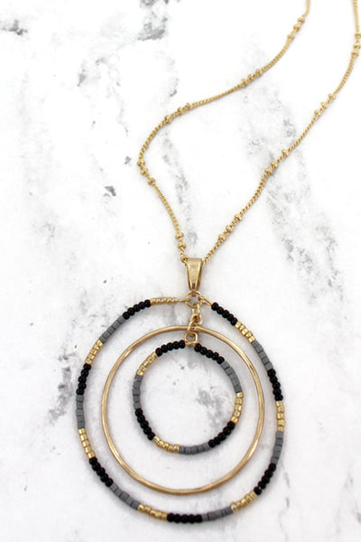 SALE! Crave Goldtone and Black Seed Bead Orbital Circle Necklace