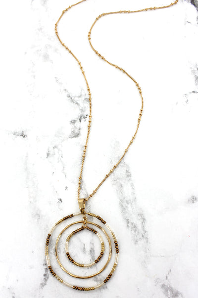 SALE! Crave Goldtone and Brown Seed Bead Orbital Circle Necklace