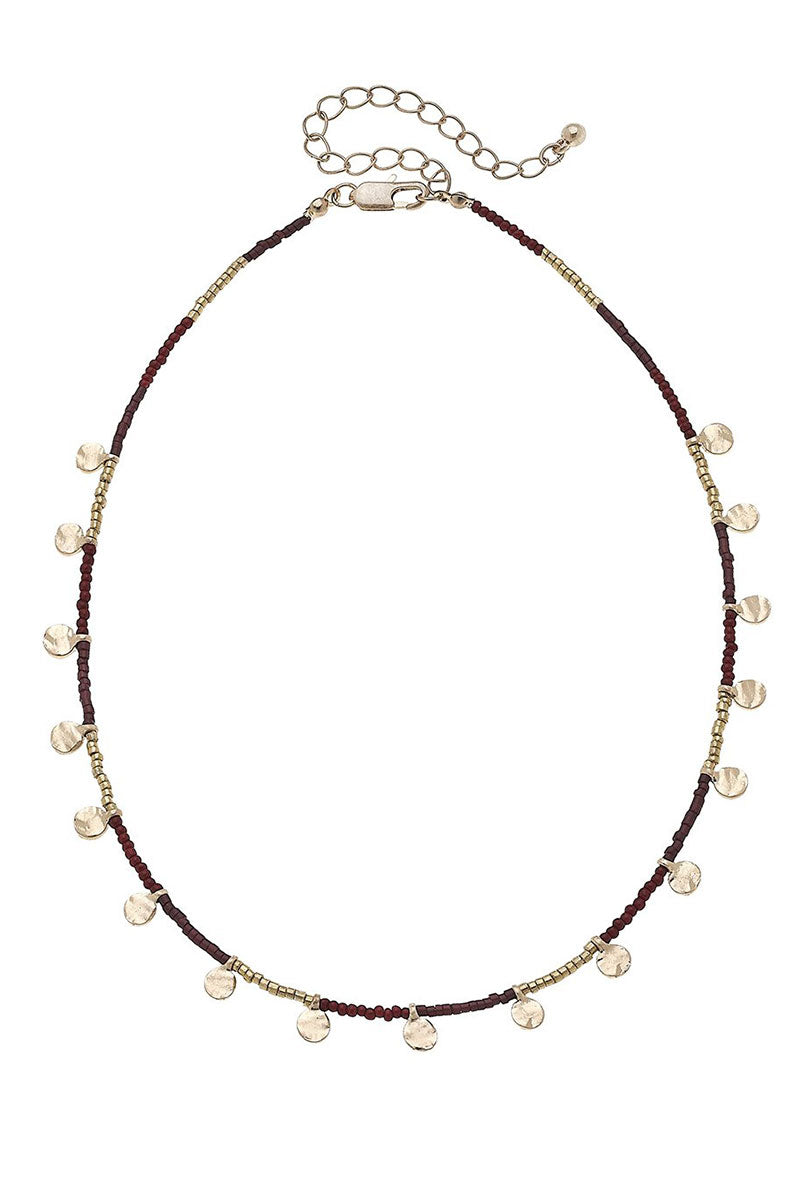 Crave Goldtone Disk Charm Burgundy Seed Bead Necklace
