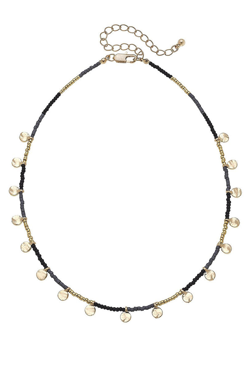 Crave Goldtone Disk Charm Black Seed Bead Necklace