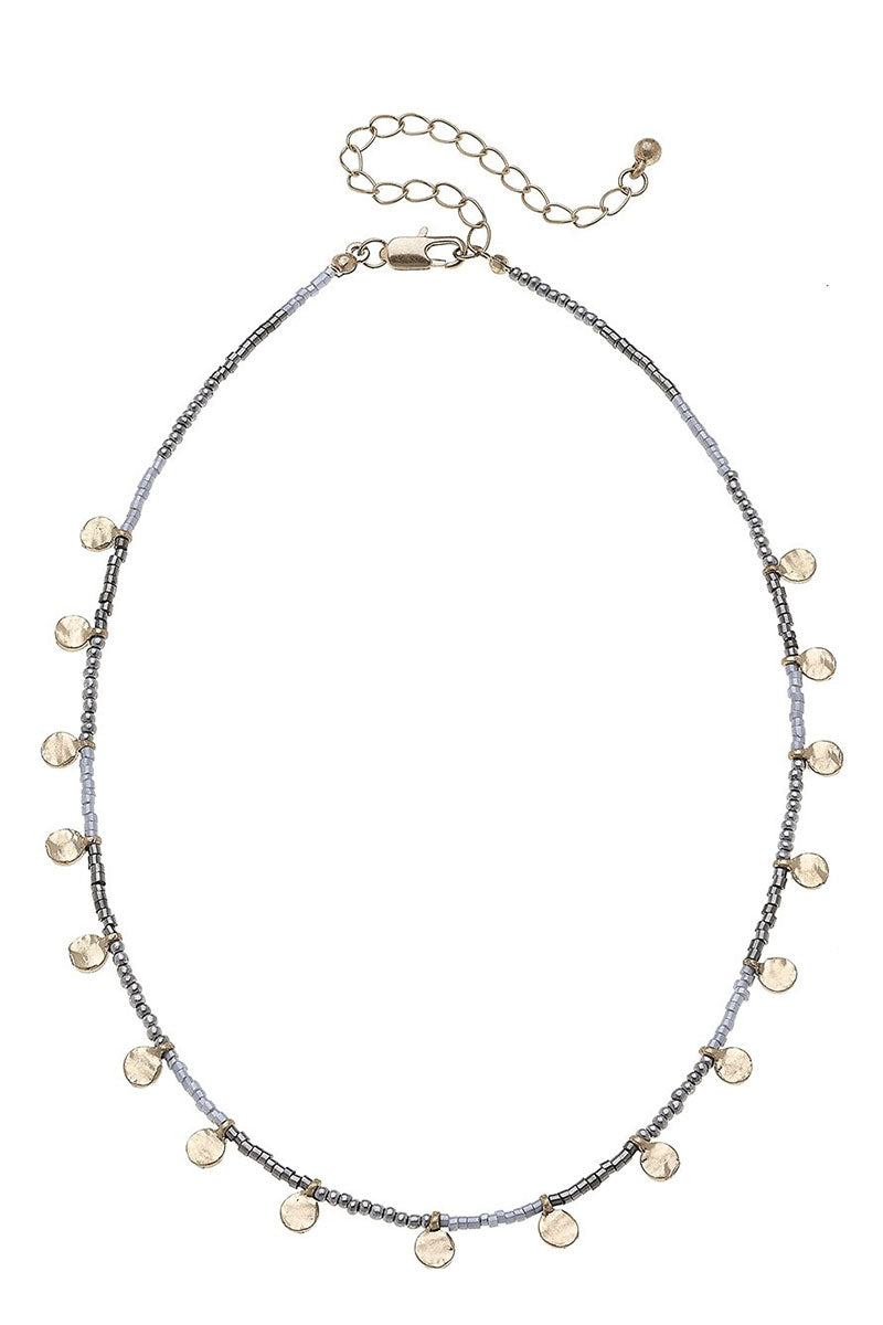 Crave Goldtone Disk Charm Gray Seed Bead Necklace