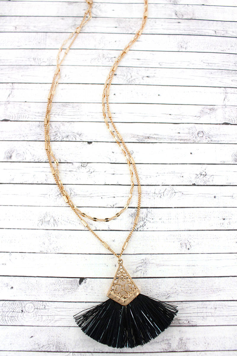 Crave Goldtone and Metallic Black Fan Tassel Layered Necklace