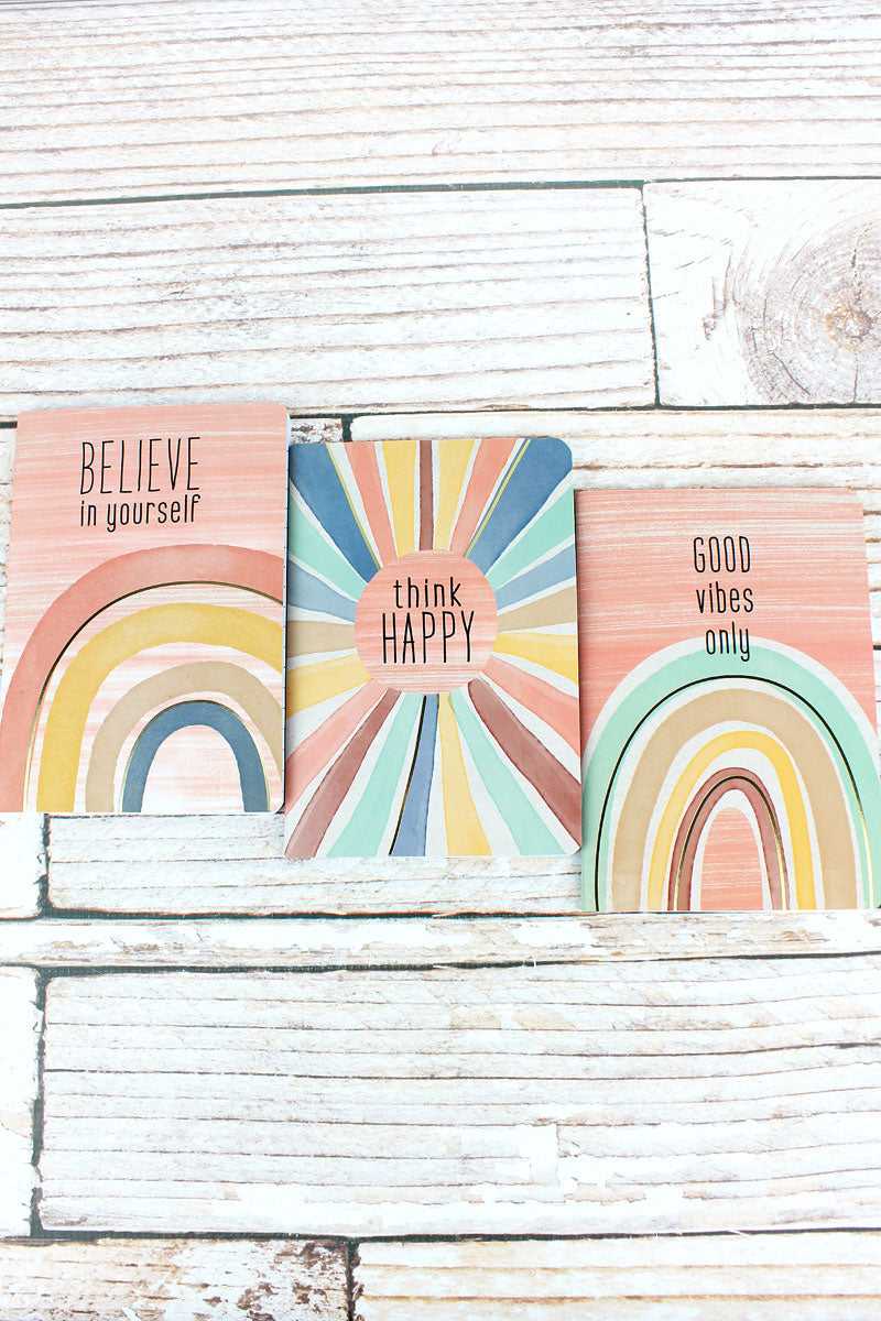 Set of 3 Insprational Rainbow Small Notebooks