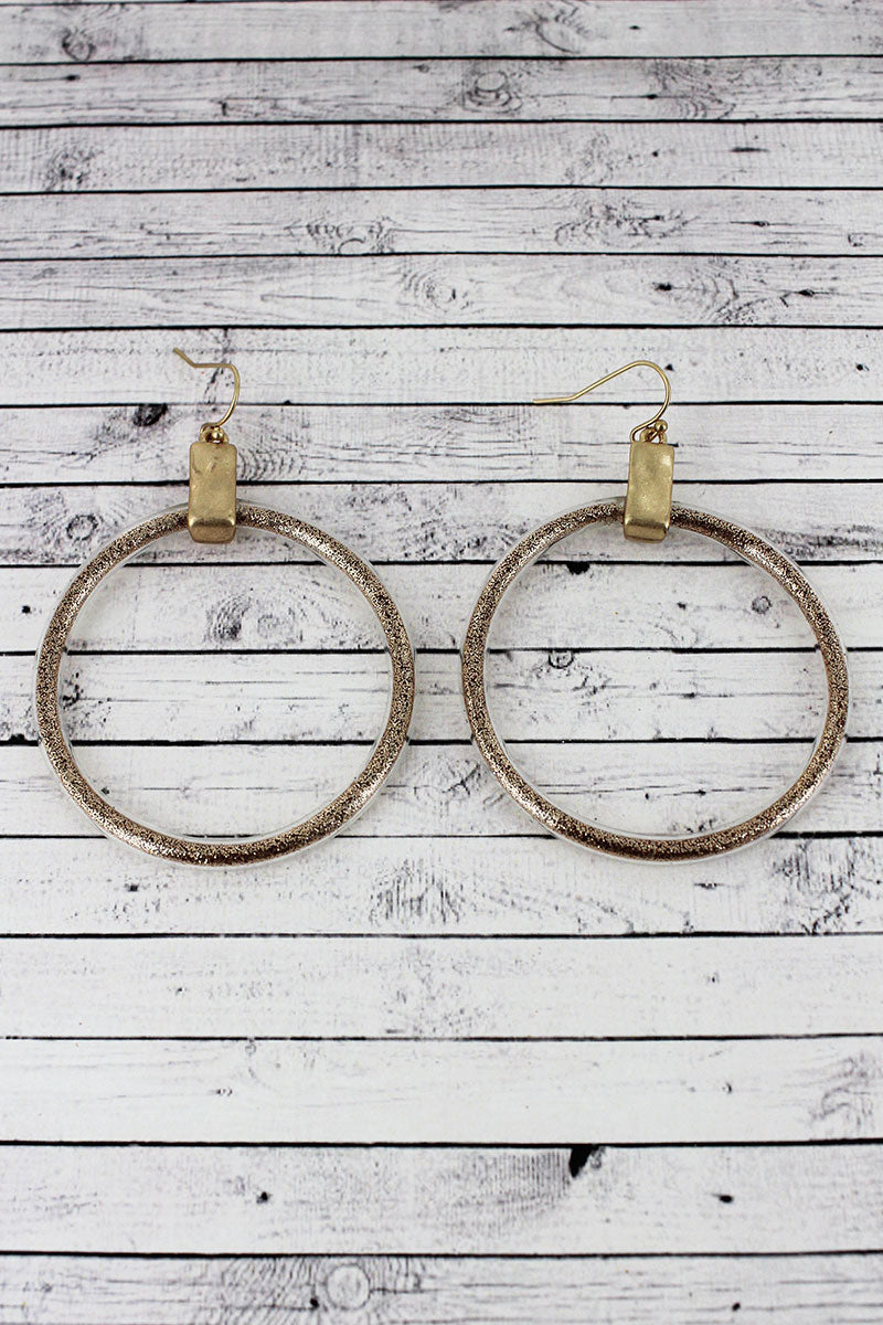 Crave Goldtone and Champagne Glitter Hoop Earrings