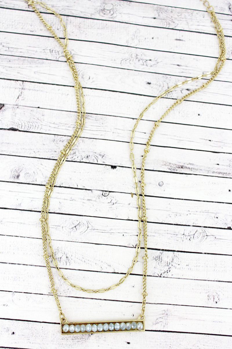 Crave Layered Gray Faceted Bead Bar Goldtone Necklace