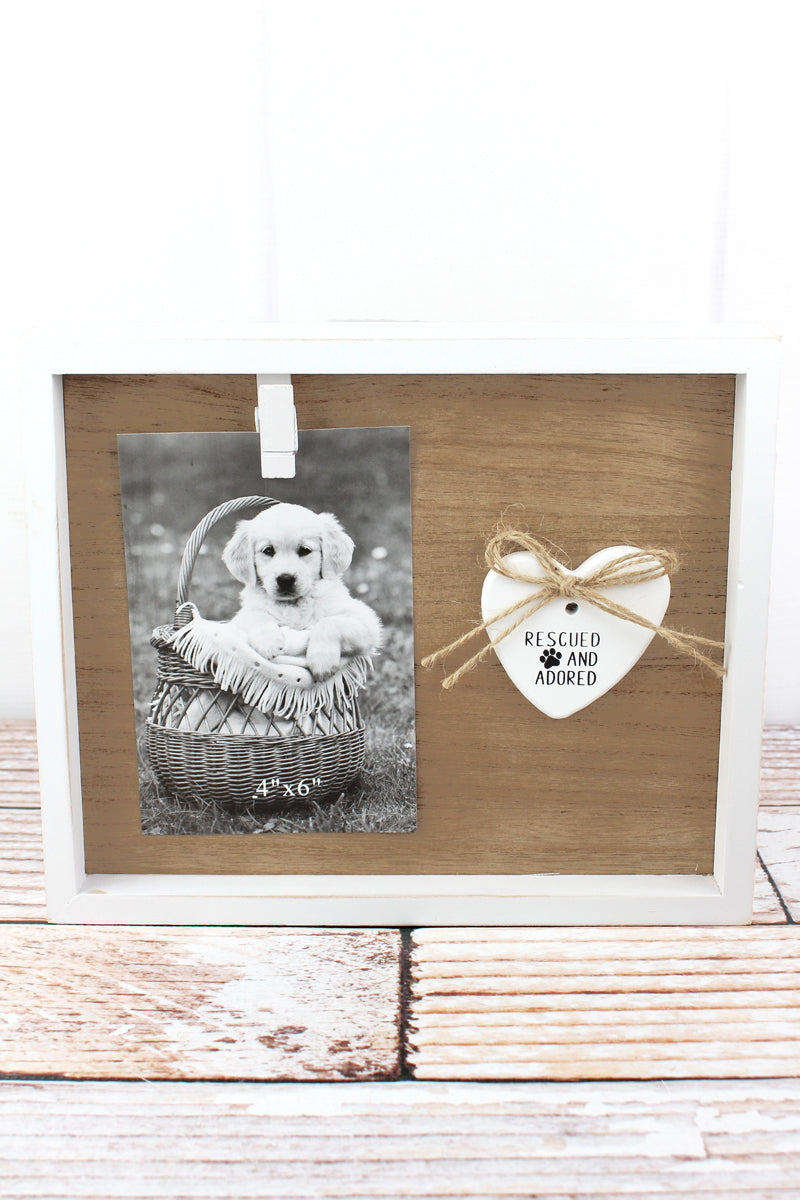 8.25 x 10 'Rescued And Adored' Wood 4x6 Photo Display