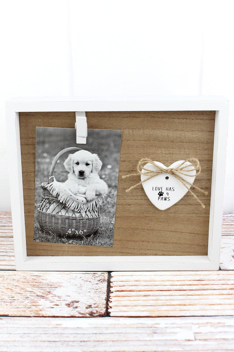 8.25 x 10 'Love Has 4 Paws' Wood 4x6 Photo Display