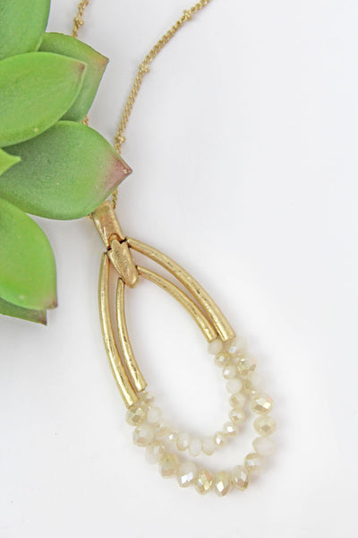 Ivory Faceted Bead and Goldtone Double Pendant Necklace