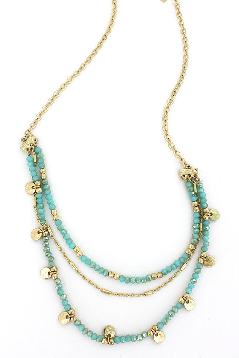 Turquoise Glass Beaded Goldtone Disk Charm Layered Necklace