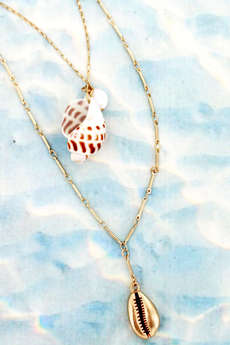 Sandy Shell Layered Goldtone Necklace