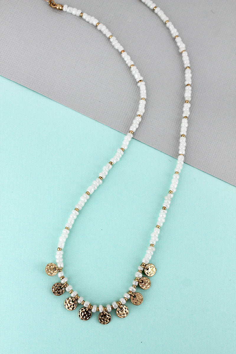Crave Goldtone Disk Charm Pearl Seed Beaded Necklace
