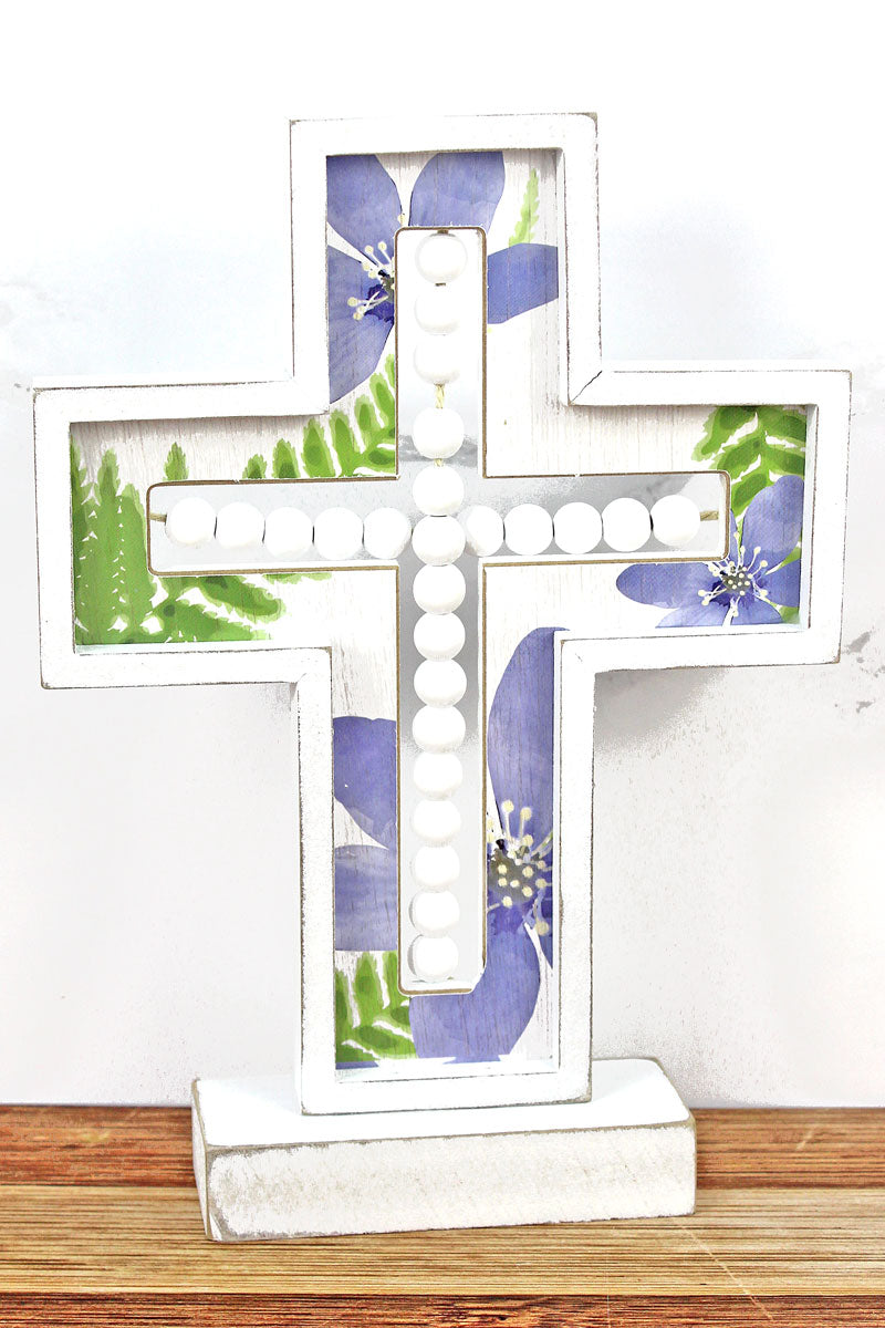 11.25 x 8 Wood Beaded Cut-Out Floral Tabletop Cross