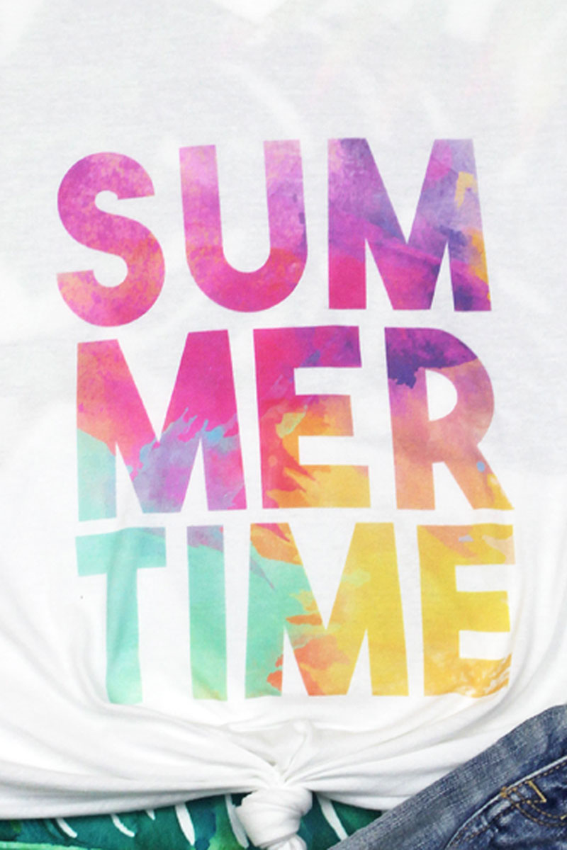 Summertime Watercolor Unisex Poly-Rich Blend V-Neck Tee