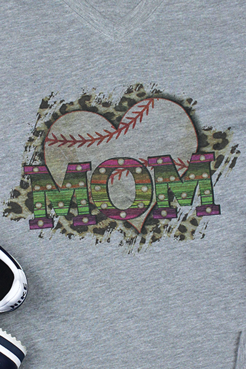 Baseball Heart Mom Unisex Poly-Rich Blend V-Neck Tee
