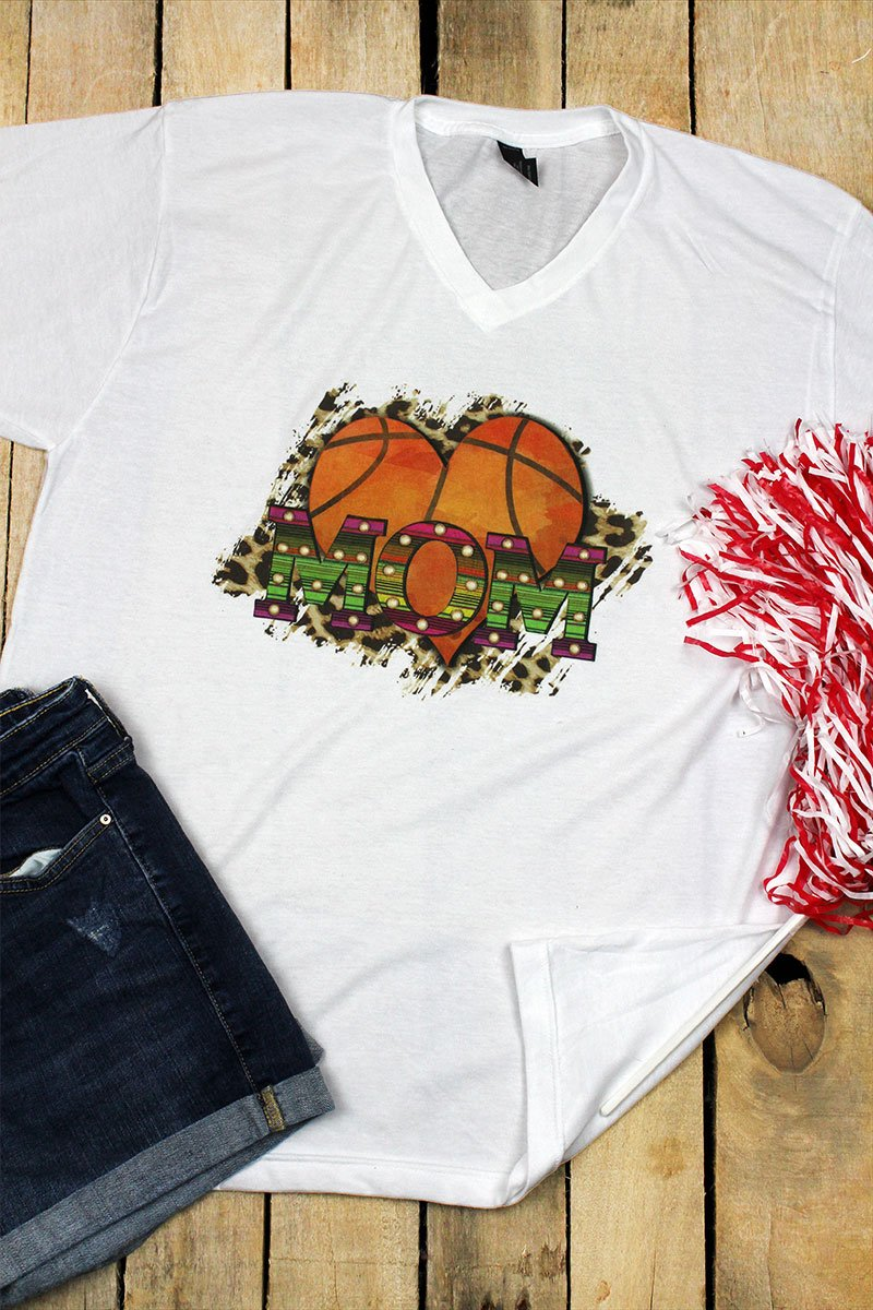 Basketball Heart Mom Unisex Poly-Rich Blend V-Neck Tee